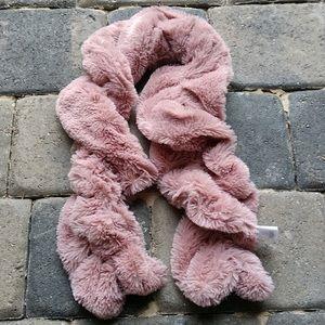 Anthropologie Pink Twist Faux Fur Plush Neck Scarf